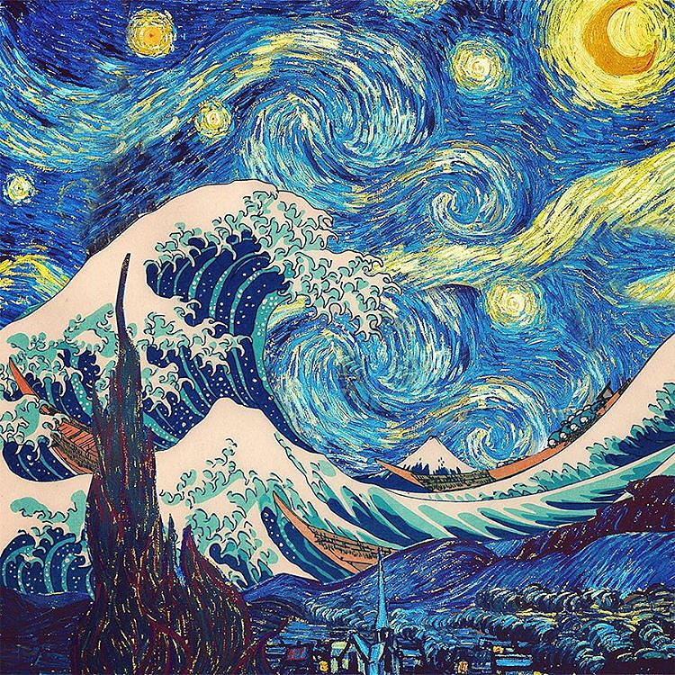 the great wave off kanagawa the starry night painting by s martin. Black Bedroom Furniture Sets. Home Design Ideas