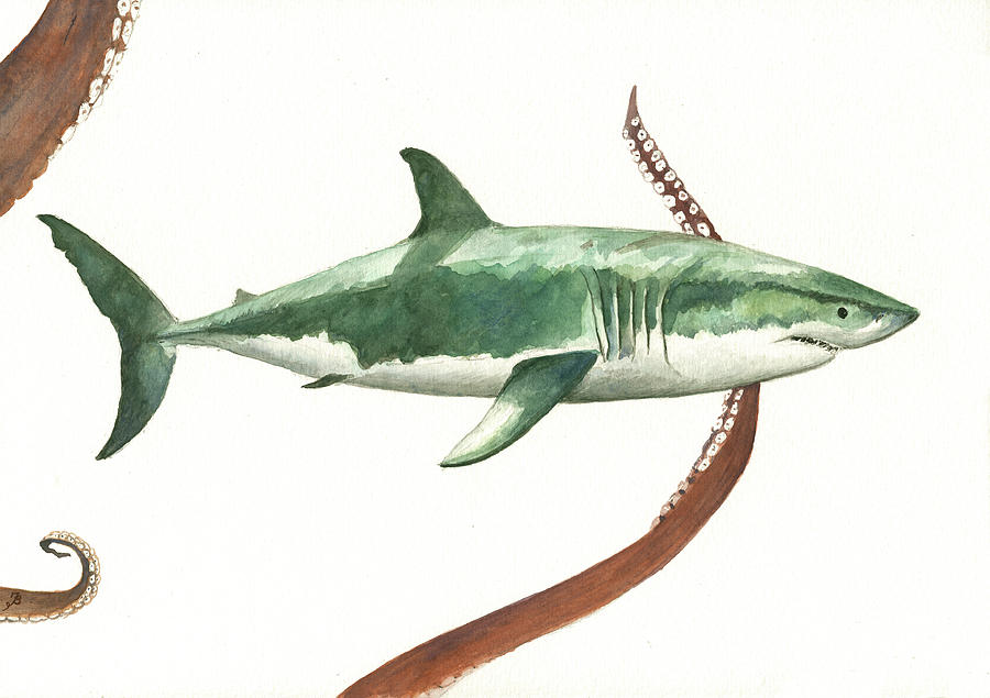 White Shark Painting Painting - The Great White Shark And The Octopus by Juan Bosco