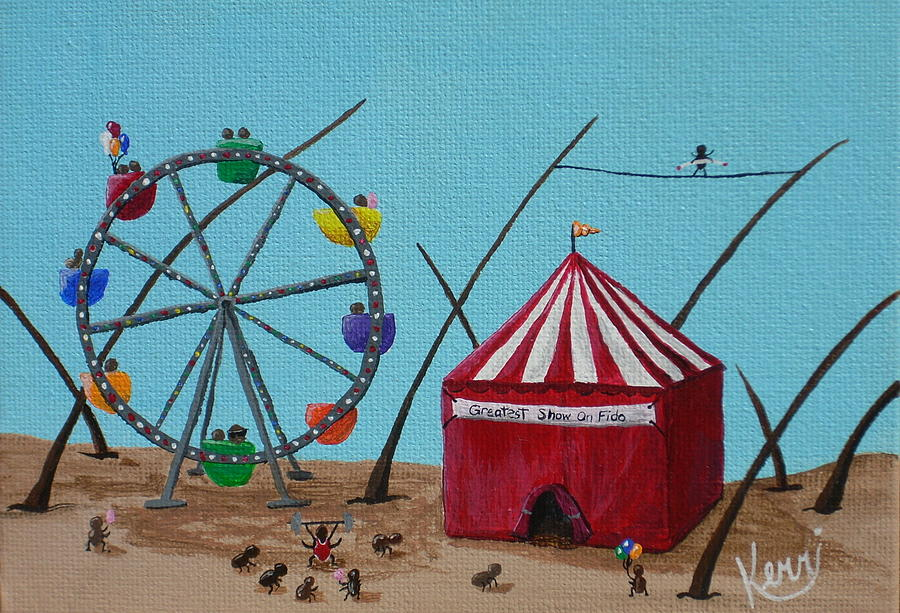 Whimsical Painting - The Greatest Show On Fido by Kerri Ertman