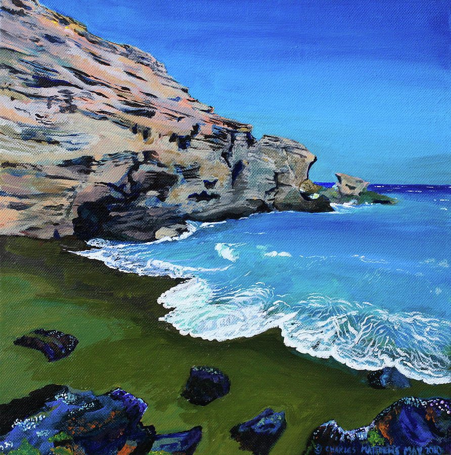 Big Island Beaches: The Green Beach The Big Island Hawaii Painting By Charles