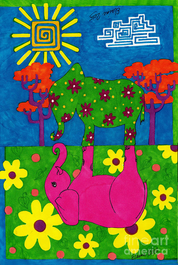 Elephants Drawing - The green is grasser on... by Elaine Berger