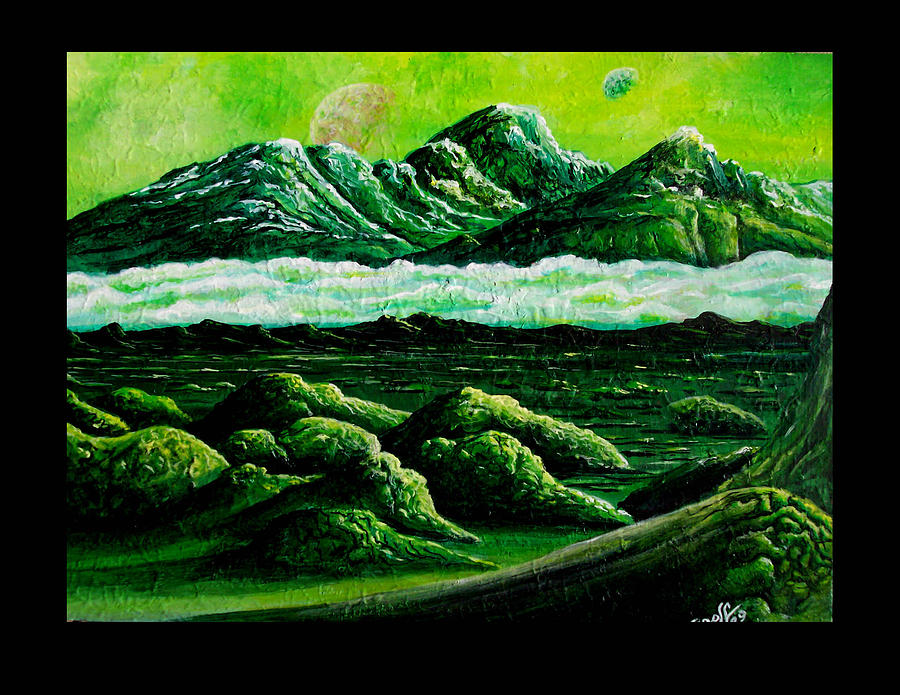 Alien Landscape Painting - The Green Mountains Of Centaurus Xiii by Douglas Egolf