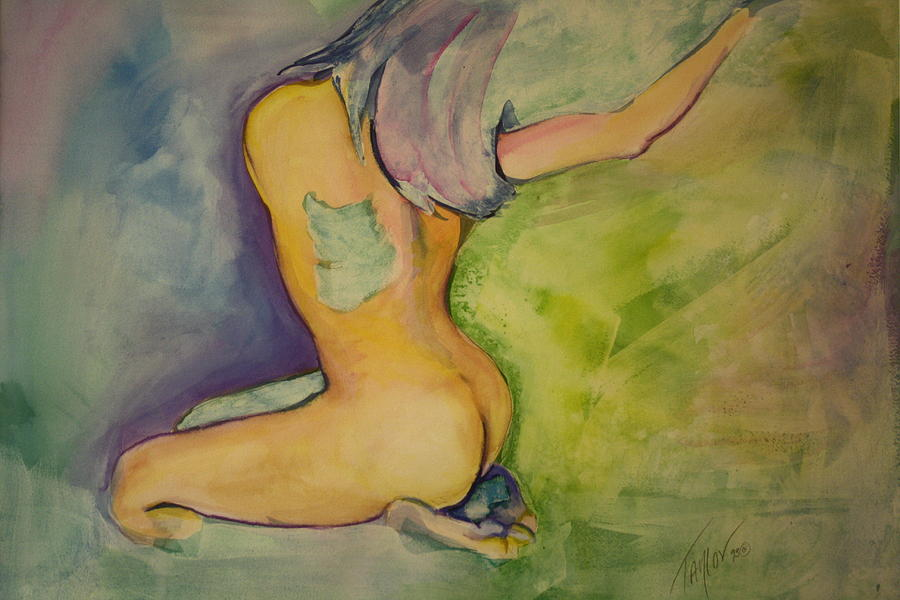 Nude Painting - The Green Patch by Sandra Taylor-Hedges