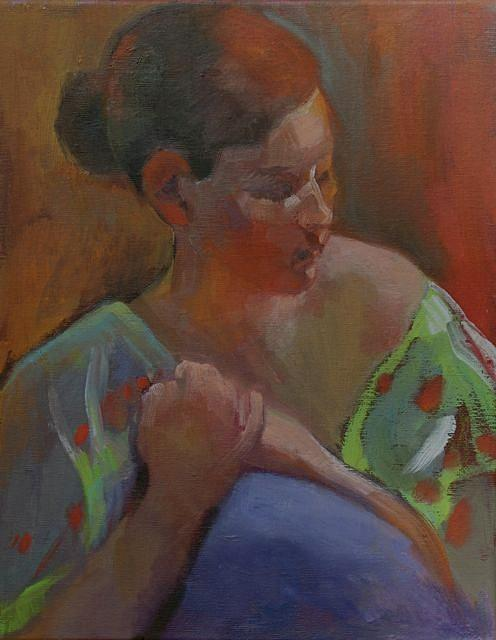 Oil Painting - Girl In Green Robe by Evelyn  M  Breit