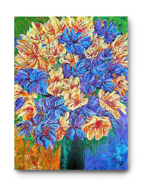 The Green Vase Acrylic Painting Flowers Blue Green Orange