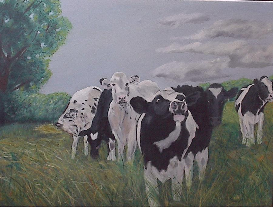 Cows Painting - The Greeter by Robert Tower