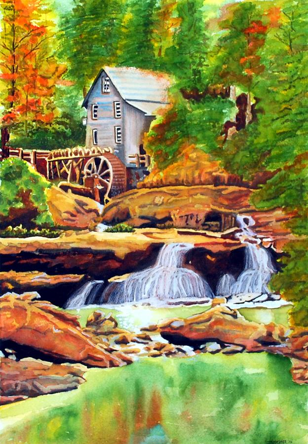 Watercolor Painting - The Grist Mill by Gerald Carpenter