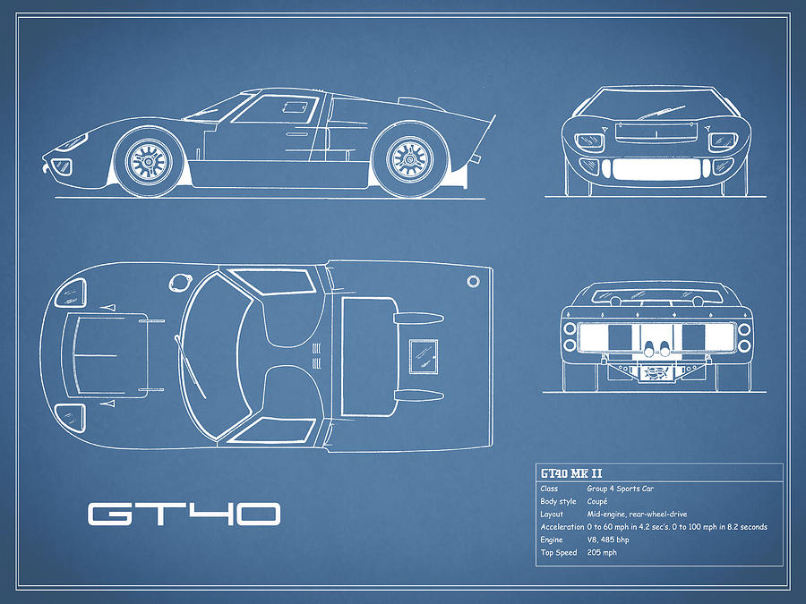 Ford Gt Photograph The Gt Blueprint By Mark Rogan