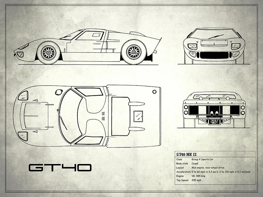 Ford Gt Photograph The Gt Blueprint White By Mark Rogan