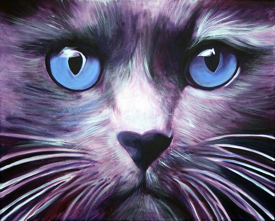 Cats Painting - The Guardian by Fiona Jack