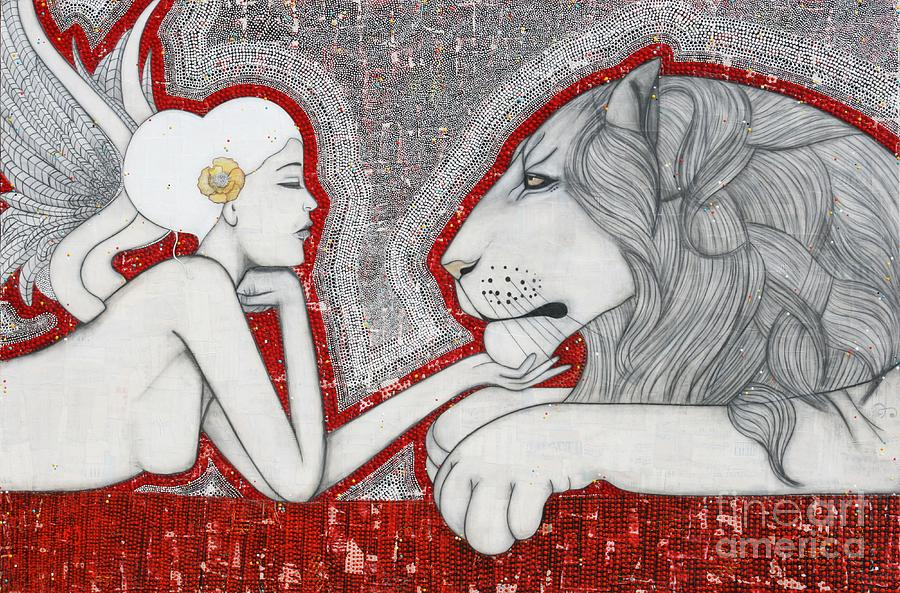 Lion Painting - The Guardian by Natalie Briney