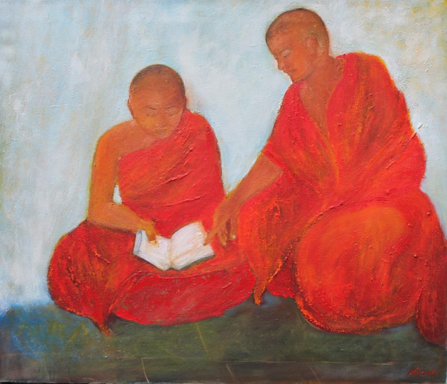 Monks Painting - The Guide by Neena Alapatt