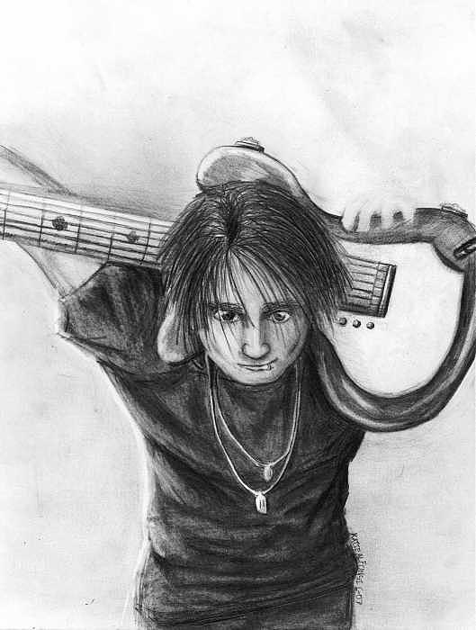 Guitarist Drawing - The Guitarist by Katie Alfonsi