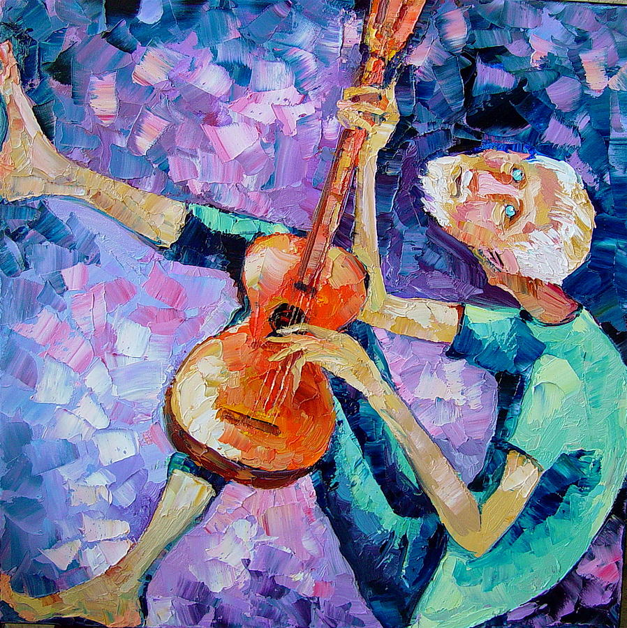 People Painting - The Guitarist by Keren Gorzhaltsan