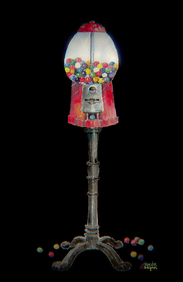 Gum Mixed Media - The Gumball Machine by Arline Wagner