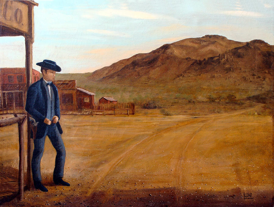 Western Town Painting - The Gunfighter by Evelyne Boynton Grierson