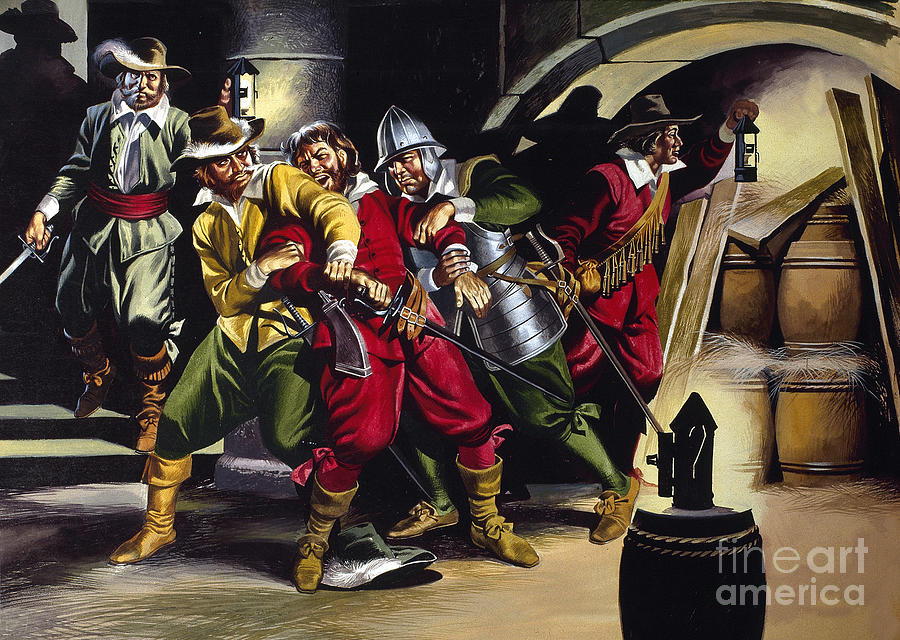 Gunpowder Painting - The Gunpowder Plot by Ron Embleton
