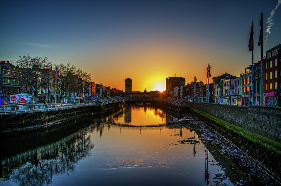 the ha penny bridge at sunrise in dublin ireland photograph by bill