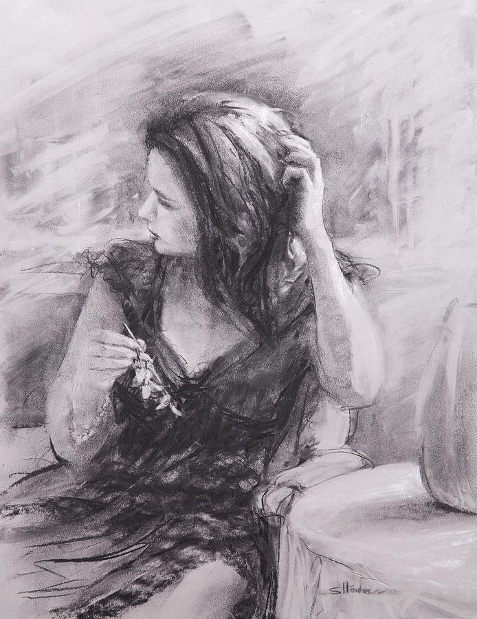 Woman Painting - The Hairpin by Steve Henderson