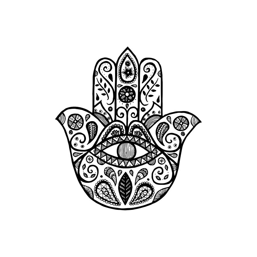 Hamsa Drawing - The hamsa hand by Tati Alecrim