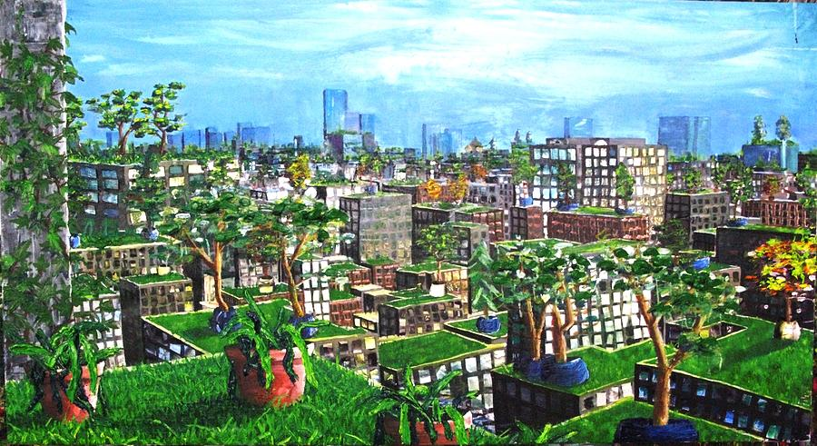 City Painting - The Hanging Gardens. by Samuel Miller