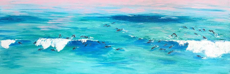 Waves Painting - The Happy Beach by Eva Olga Balazs