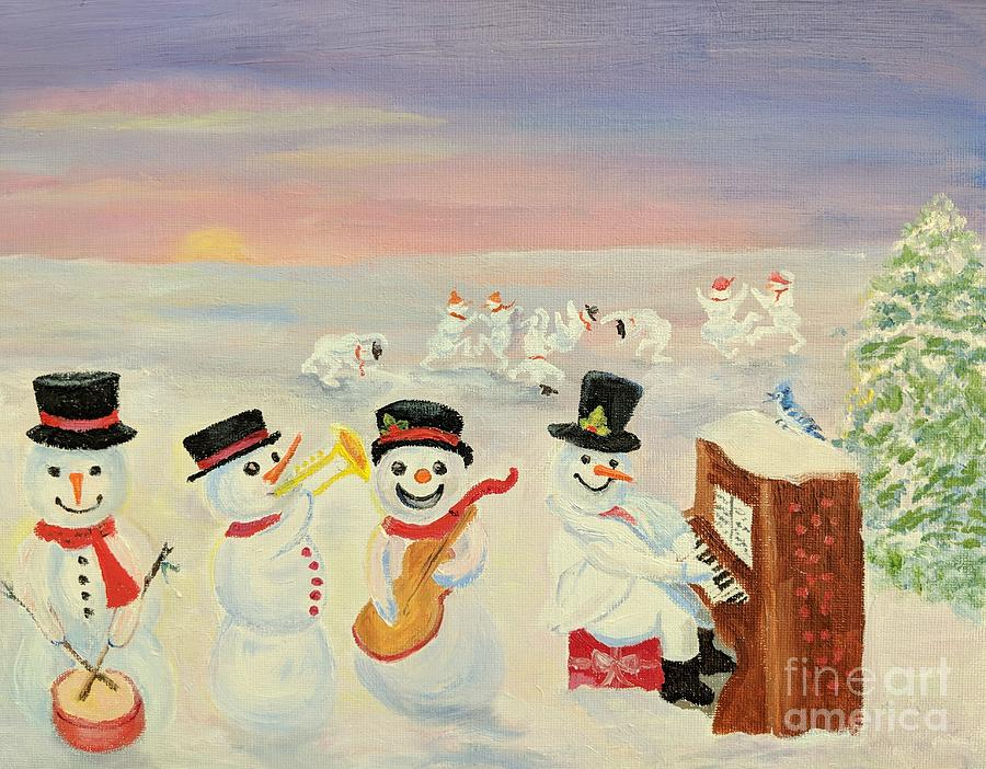 Dorothy Painting - The Happy Snowman Band by Dorothy Weichenthal