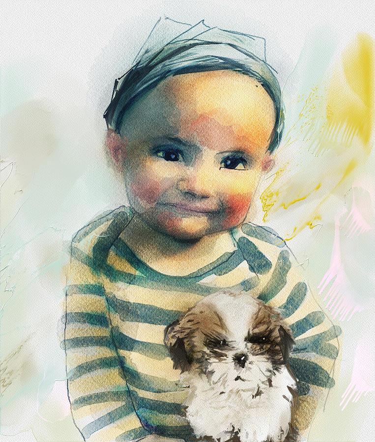 Boy Digital Art - The Hardest Fight by Richard Okun