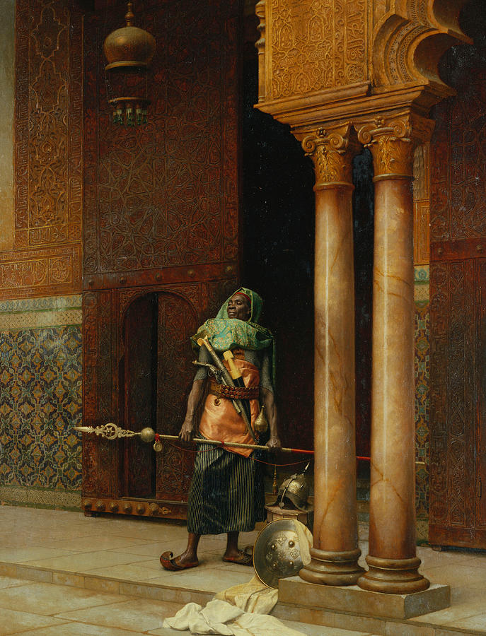 Orientalism Painting - The Harem Guard  by Ludwig Deutsch