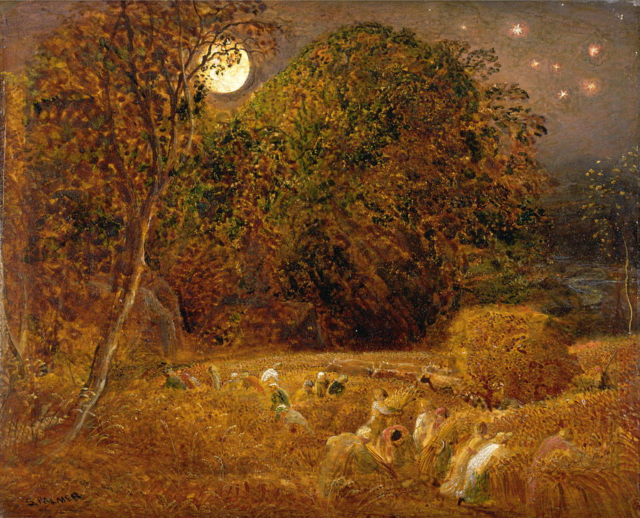 Samuel Palmer Painting - The Harvest Moon by Samuel Palmer