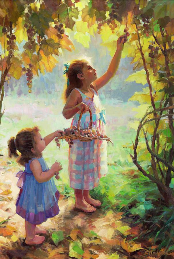 Vineyard Painting - The Harvesters by Steve Henderson