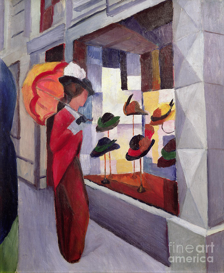 The Painting - The Hat Shop by August Macke