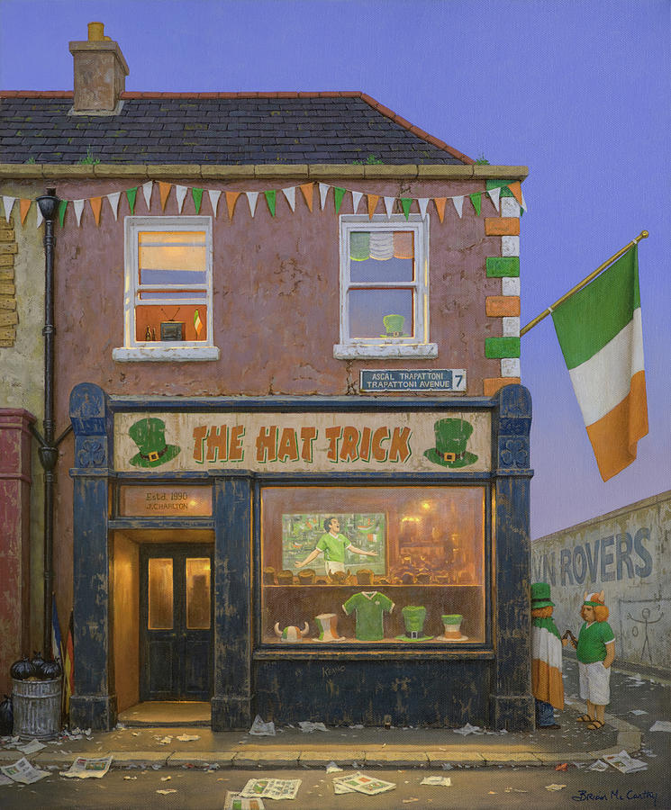 Football Painting - Football World Cup Hat Trick Pub in Dublin by Brian McCarthy