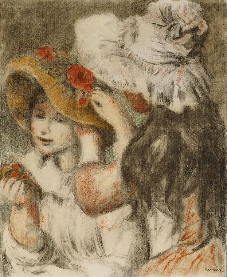 Two Girls Painting - The Hatpin by  Pierre Auguste Renoir