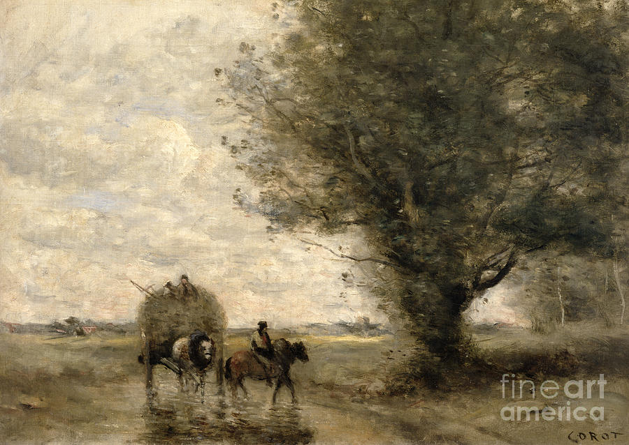 The Painting - The Haycart by Jean Baptiste Camille Corot