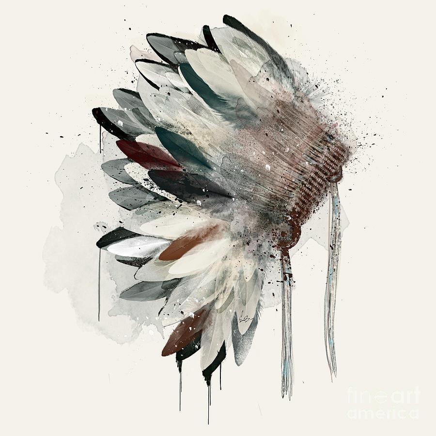 Native Headdress Painting - The Headdress by Bri Buckley
