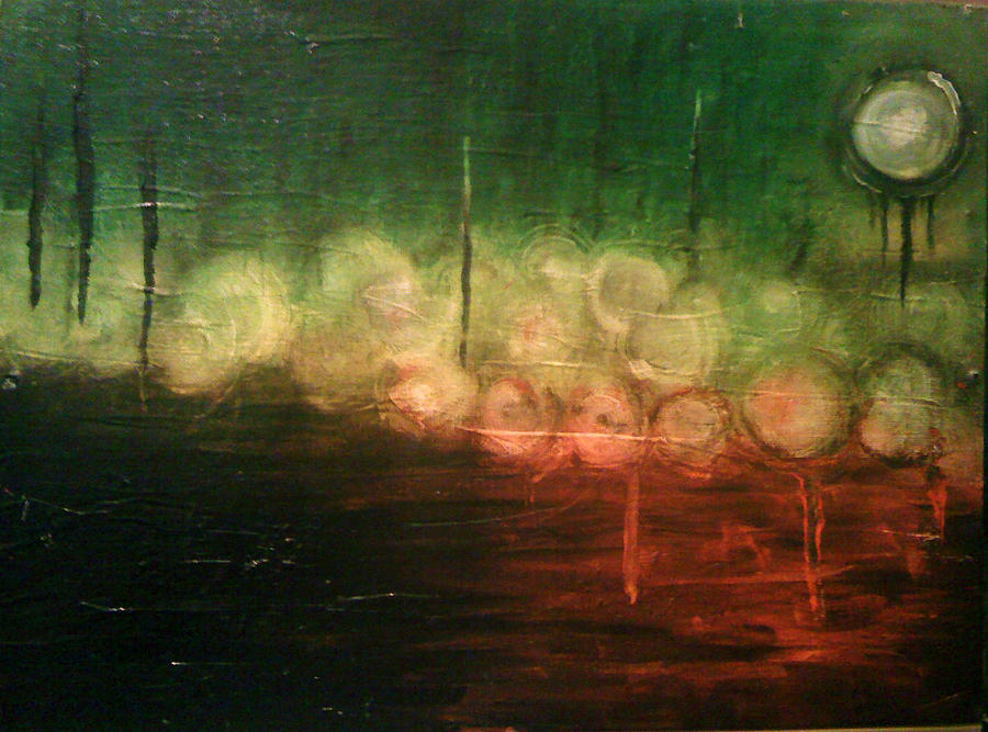 Landscape Painting - The Heavens Torn In Moonlight by Ronny Darko