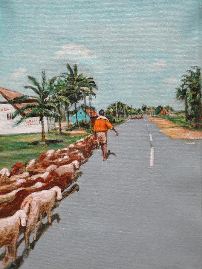 The Herd 1 Painting by Usha Shantharam