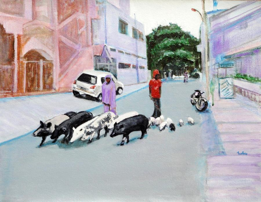 Pigs Painting - The Herd 5 - Pigs by Usha Shantharam
