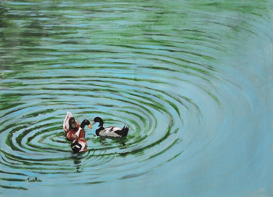 Duck Painting - The Herd Series - Duck Meet by Usha Shantharam