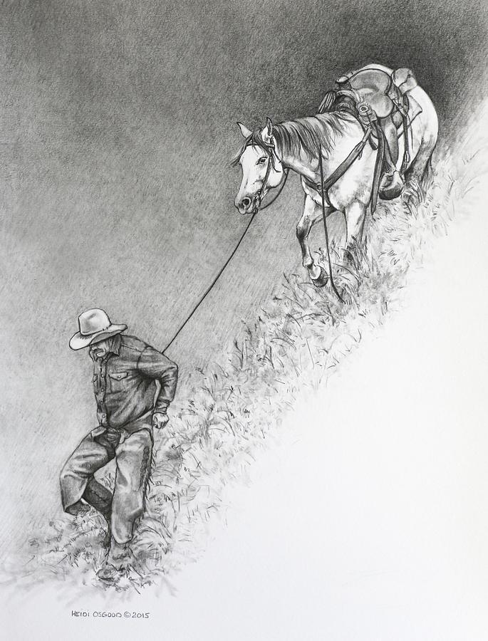 Cowboy Drawing - The Herdsman by Heidi Osgood-Metcalf