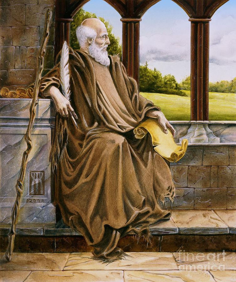 Wise Man Painting - The Hermit Nascien by Melissa A Benson