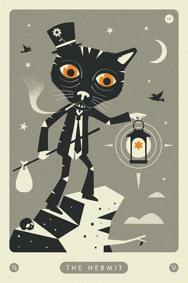 Tarot Digital Art - The Hermit Tarot Card Cat  by Jazzberry Blue