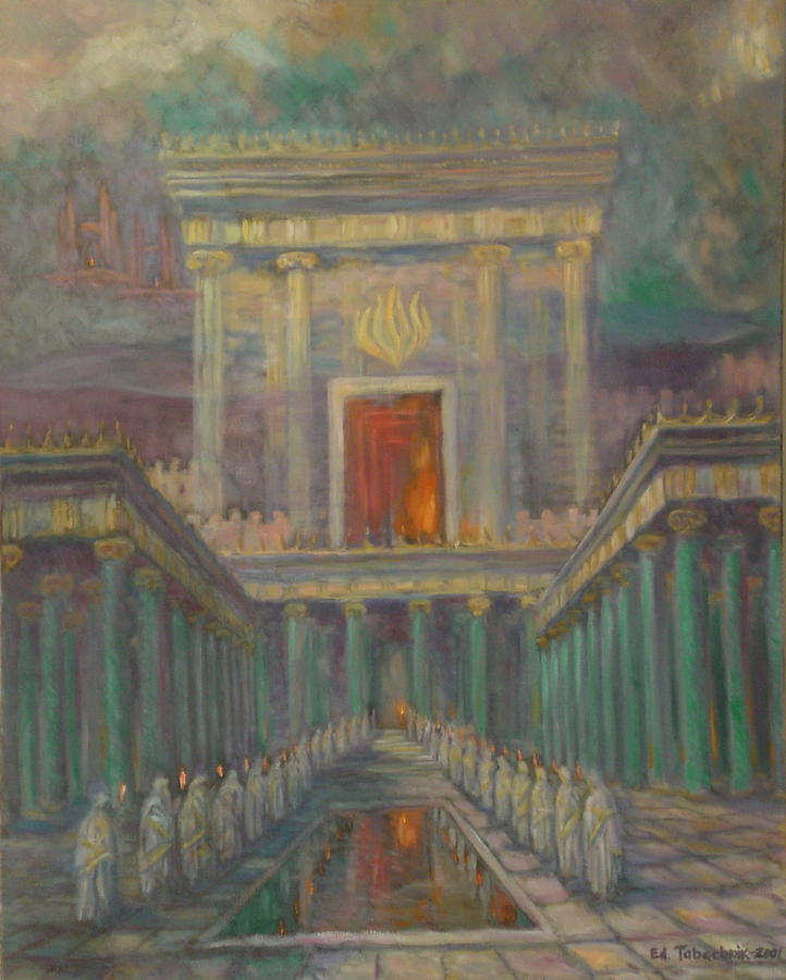 Second Temple Painting - The Herods Temple in Jerusalem by Edward Tabachnik