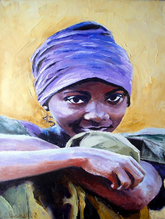 African Painting - The Hidden Smile by Claudia Mandl