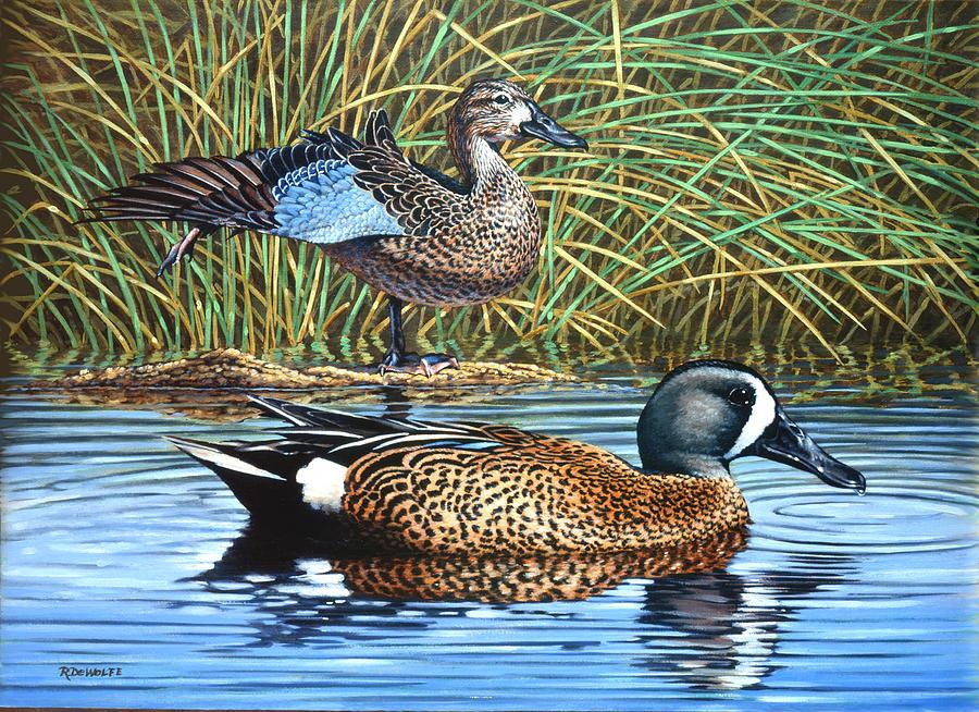 Ducks Painting - The Hide-away by Richard De Wolfe