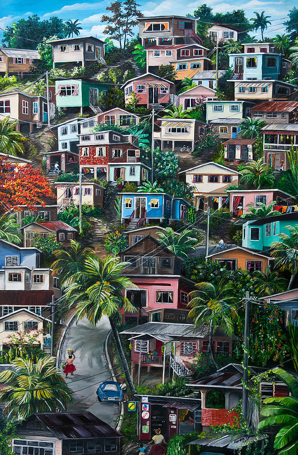 The Hill     Trinidad  Painting by Karin  Dawn Kelshall- Best