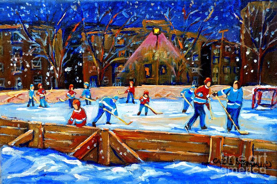 Snow Painting - The Hockey Rink by Carole Spandau
