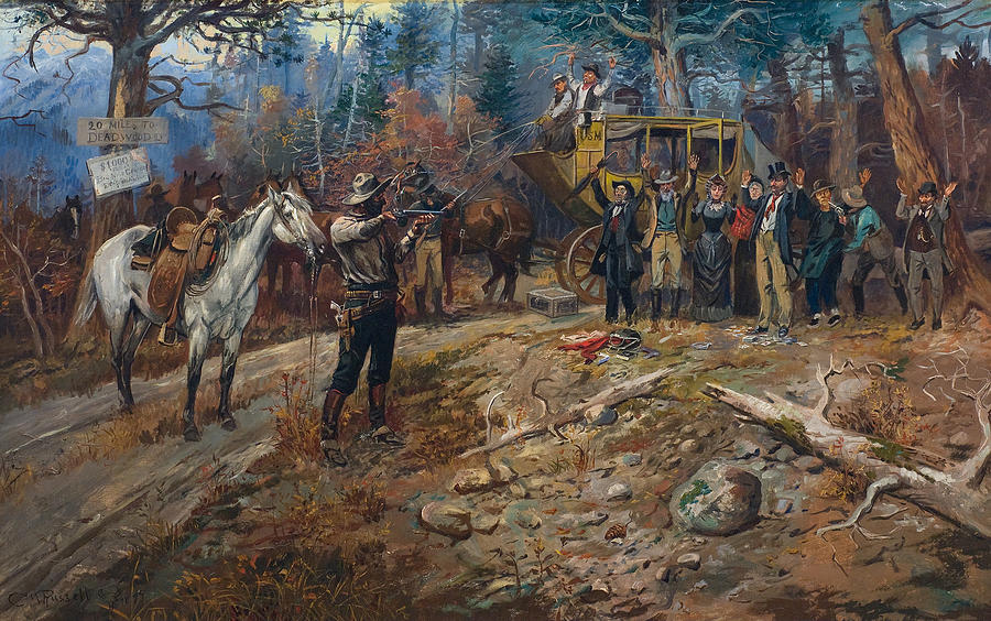 The Hold Up Painting By Charles M Russell