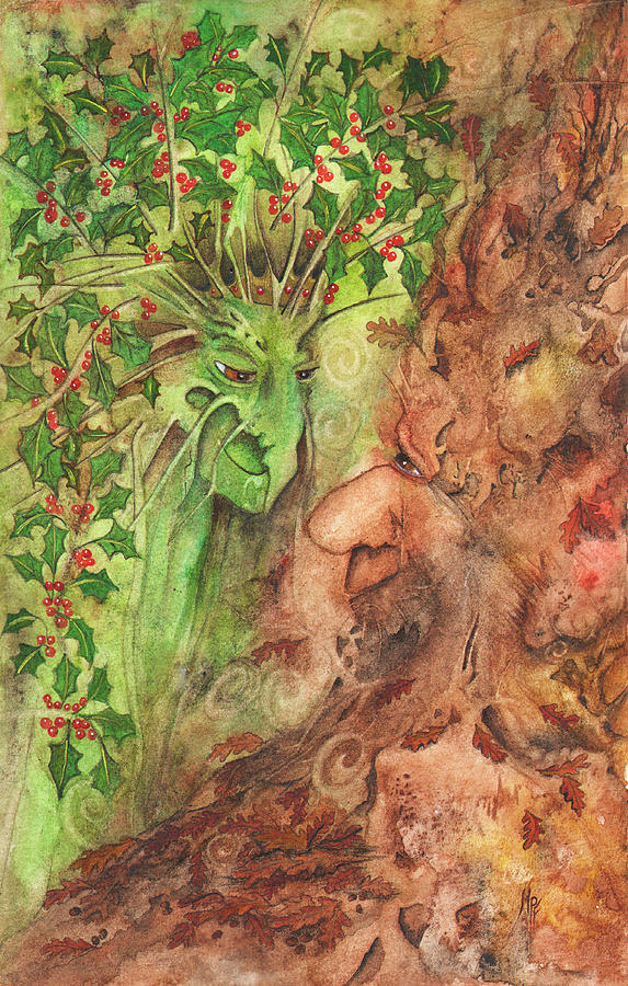 Oak Tree Painting - The Holly and the Oak King by Maria Forrester